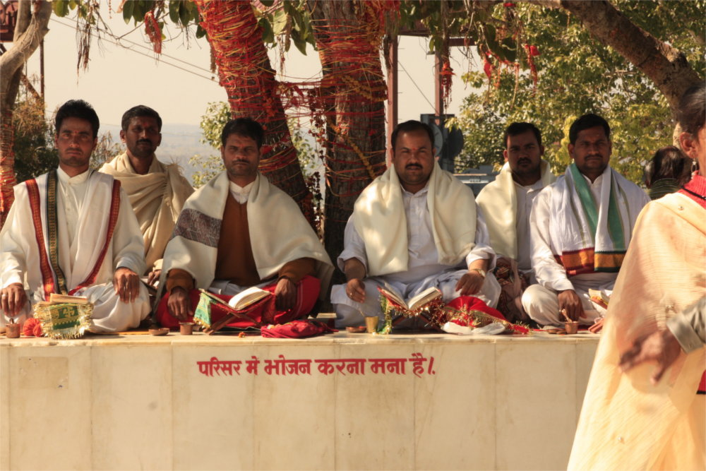 Pandits during Puja